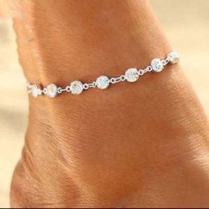 Jewelry - Crystal Ankle Bracelet Silver Anklet 7 Crystals